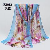 2017 New Women Chiffon Silk Scarfs Fashion Spring Square polyester Scarves Print flowers Shawl Summer Shawls And Hijabs 052