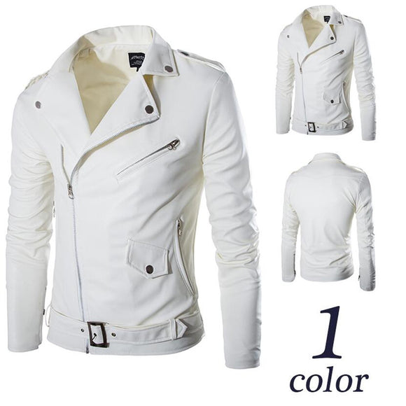 2017 fashion stand collar motorcycle leather clothing men's leather jacket male outerwear White Leather & Suede M-XXL