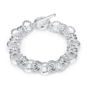 New Fashion and Fancy Spiral Circle TO Clasp Bracelet Femme Argent Bijouterie For Women Girls Wedding Party Chain Hand Jewelry
