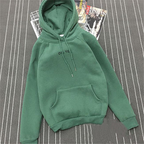 2017 Fsdhion Autumn Winter Fleece Oh Yes Letter Harajuku Print Pullover Thick Loose Women Hoodies Sweatshirts Female Casual Coat