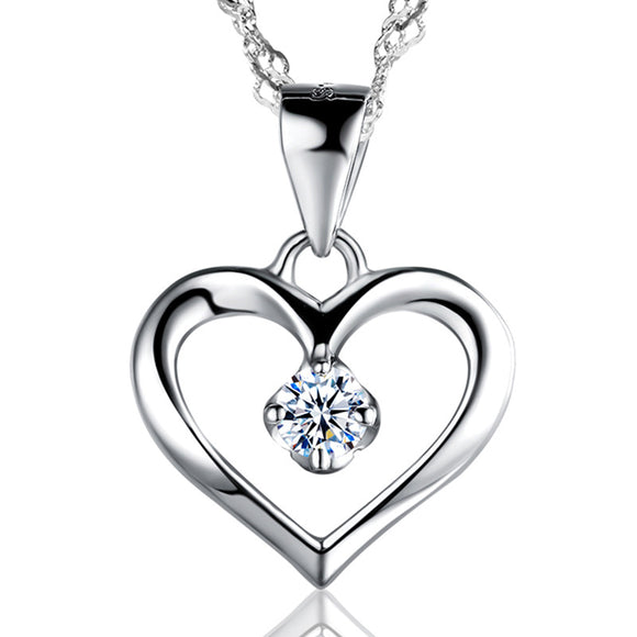 Elegant 925 Sterling Silver Cubic Zirconia CZ Hollow Heart Pendant Necklace Colllar Women Wedding Anniversary Jewelry