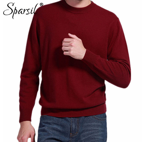 Sparsil Man's Cashmere Sweaters Blend Winter Autumn O-Neck Long Sleeve Pullovers Soft Warm Knitwear Plus Size S-XXXL A42