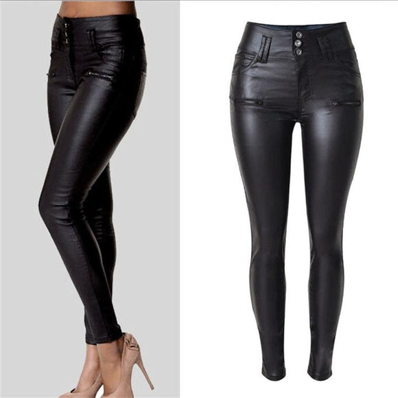 2017 New Winter elegant ladies fashion PU leather Leggings wild Slim pencil trousers feet leather pants brand design women dress