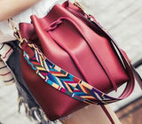 Fashion Colorful Strap Bucket Bag Women High Quality Pu Leather Shoulder Bag Brand Desinger Ladies Crossbody Bags  PP-749