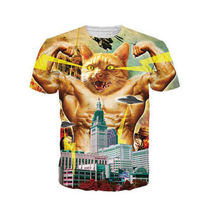 2017 New arrival summer style mens t shirt fashion mens 3d printed t shirt casual tshirt Men Cat muscle cat t shirt tee tops