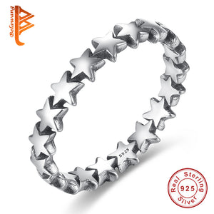 BELAWANG 100% 925 Sterling Silver Rings Star Trail Stackable Finger Ring For Women/Lovers Authentic Jewelry Mother's Day Gift