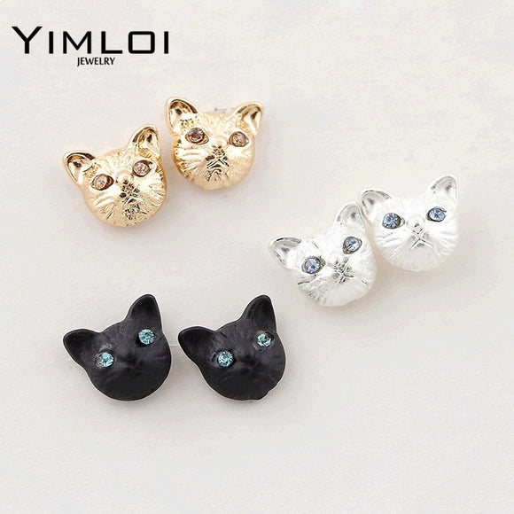 2017 New Girls Vintage Designer Gold Silver Black Realistic Lovely Cat Head Ear Stud Earring for Women brinco de meninas E328