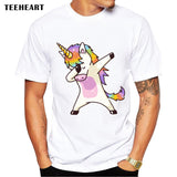 2017 Summer Fashion Dabbing Unicorn T-Shirt  Men Funny T Shirts Dabbing Hip Pop Unicorn/Cat/Zebra Tops Tee  la591