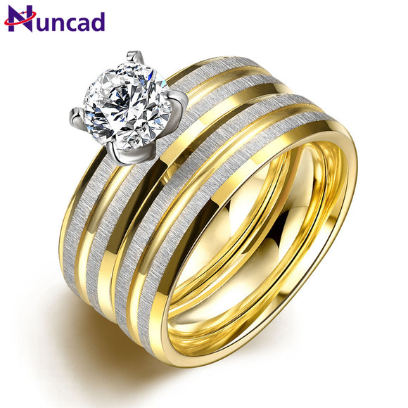Women 2PCS/1SET Titanium Steel Golden Marriage Engagement Rings Bague Homme Bagues Anel Falange Bayan Yuzuk US Size 6-9 Jewelry