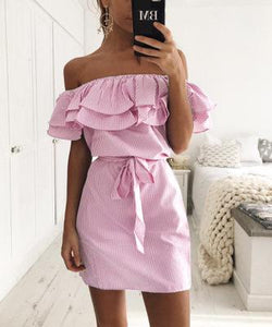 2017 Summer Dress Women Casual Ruffles Stripe Slim Mini Dress Sexy Slash Neck Off Shoulder Vestidos Party Dresses Beach dress