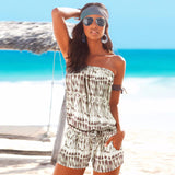 Bohemian Off Shoulder Beach Romper with Tie Dye Print Design