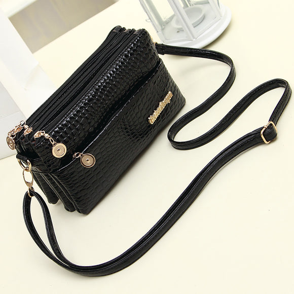 Crocodile Pattern Multi Pockets Messenger Bags for Women Soft Leather Multi Compartment Crossbody Bag Female Bolsas Feminina
