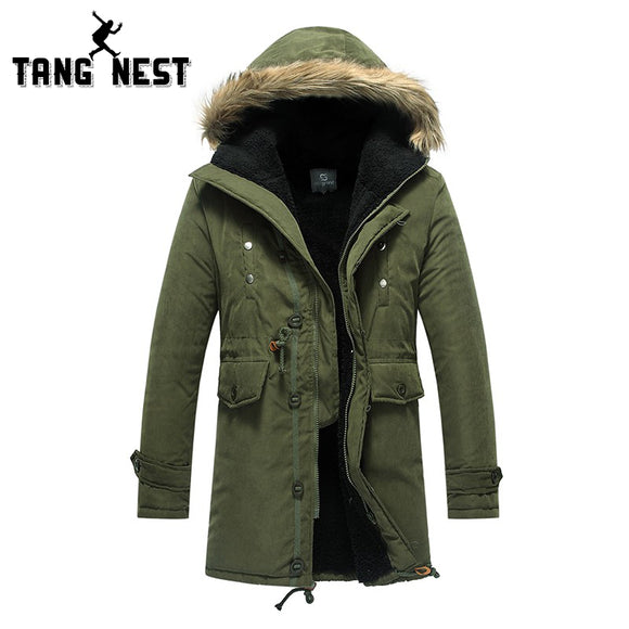 TANGNEST New 2017 Winter Lowest Price Three Color Men's Long Overcoat Popular Asian Size Hooded Warm Comfortable Coat 060