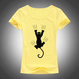 2017 Hot sale summer naughty black cat 3D t shirt women lovely cartoon shirt Good quality comfortable brand casual tops F91