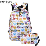 BEARBERRY 2017 2 PCS canvas Leisure  Travel Backpack Clutch Bag 3D Smiley Emoji Face Printing School Bag Teenagers Mochila MN265