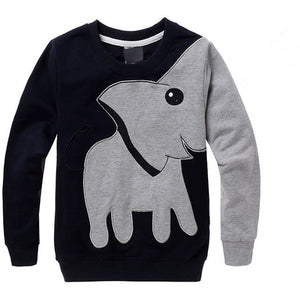 2017 Autumn New Cartoon Elephant Printed Long Sleeve Children Sweater Boy Girl Pullover Top Shirts Sweatshirt Clothing