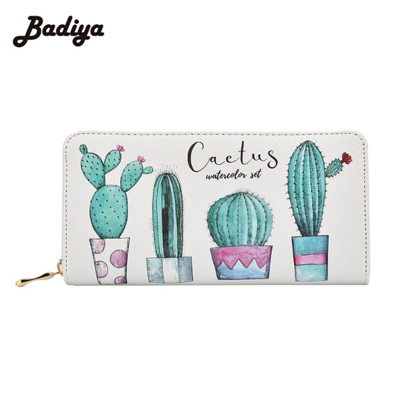 Badiya Cactus Plant Printing Women Summer Long Wallet PU Leather Phone Pocket Ladies Card Holder Bag Girls Zipper Coin Purse