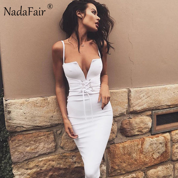 Nadafair Spaghetti Strap V Neck Sexy Club Bodycon Bandage Dress 2017 New Summer Black White Midi Party Dress