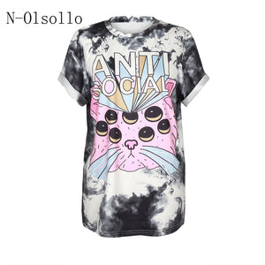 2017 Summer Clothing For Women T shirt With Cat Prints 3D Top Tees Broadcloth Knitted Fashion Shirts O-neck Casual Female Blusas