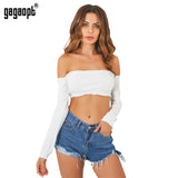 Gagaopt Long Sleeve T-shirt 2017 Sexy Off Shoulder Party Bustier Crop Top Elastic Summer Beach Tube Women Tops Lady Short Tank