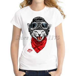 2017 The Happy Cat Design Women T shirt Novelty Tops High Quality Tee