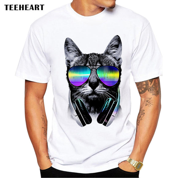 2017 Summer Cool Music Lover Cat T-Shirt  Men Funny T Shirts  O-neck shirt Sleeve Modal Tops Tee  la622