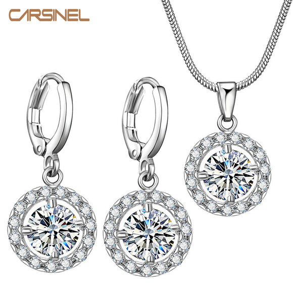 5 Colors Zircon Micro Pave Jewelry Sets for Women Silver color Round Cubic Zircon Necklace Hoop Earrings Wedding Jewelry Sets