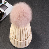 [Xthree] real fox fur pom poms ball Keep warm winter hat for women girl 's wool hat knitted beanies cap thick female cap