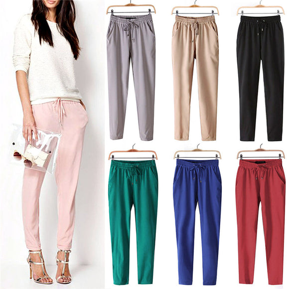 2017 Hot Sales Women Summer Pant Casual Loose Stretch Palazzo Harem Pants Female Slack Sweatpant Trousers Women Pants Capris