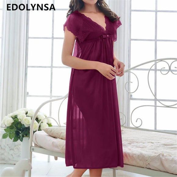 e47ba16be2 New Arrivals Lace Nightgowns Sleepshirts Solid Sleepwear Sexy Nightgown  Female Soft Home Dress Vintage Long Nightgown