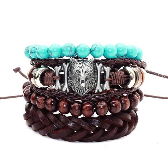 Turquoises Stone Beads Wolf Head Pull-Closure Genuine Leather Bracelet
