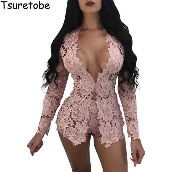 2017 New Summer Two Piece Elegant Floral Lace Playsuits Long Sleeve Hollow Out Skinny Short Sexy Jumpsuit Women Rompers Overalls