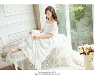 Women Short Sleeves Nightgown Summer New Slash Neck Sleepwear Cotton White Lace Loose Nightgowns Long  Sleep Shirt Nightdress