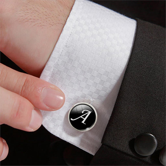 1 Pair Business White on Black Letters Men Suits Shirt Cuff Links Silver Plated Glass Cabochon Wedding Cuff Accessories