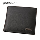 2017 NEW Designe euro genuine leather men wallets famous brand men wallet male black coin purse ID card dollar bill wallet