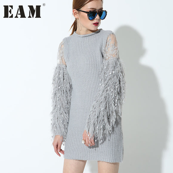 [EAM] 2017 new Fashion stitching knitting lantern sleeves Full sleeved gray color short dress women temperament tide 1KTQ
