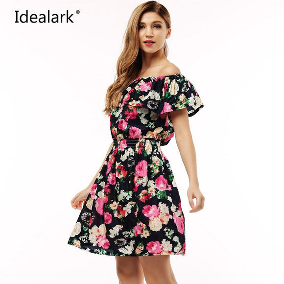 2017 fashion new Spring summer dress women clothing floral print pattern casual dresses vestidos WC0472