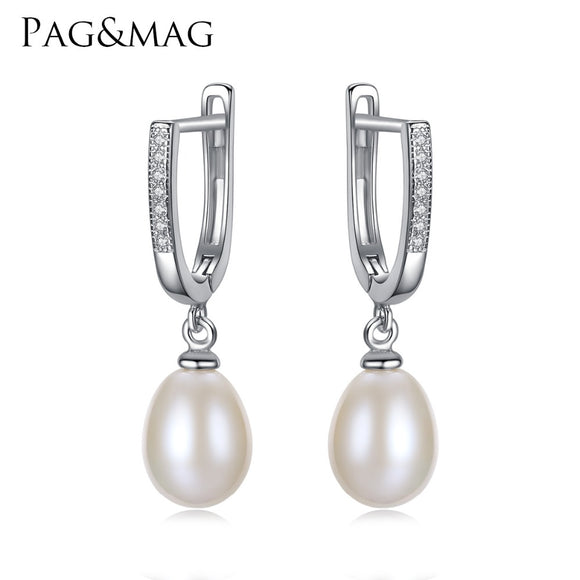 PAG&MAG Brand Classic Style Freshwater Natural 8-9mm Drop Pearl Clip Earrings for Women 925 Silver Clip on Earrings Wholesale