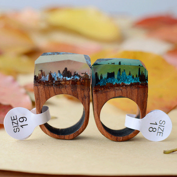 Egnara Trendy Popular Resin Wooden Rose Blooming Secret Forest Miniature Worlds Inside Ring For Women Finger Jewelry
