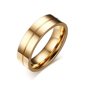 Meaeguet Gold-Color CZ Wedding Rings Lover's Cubic Zirconia Stainless Steel Romantic Ring Jewelry USA Size