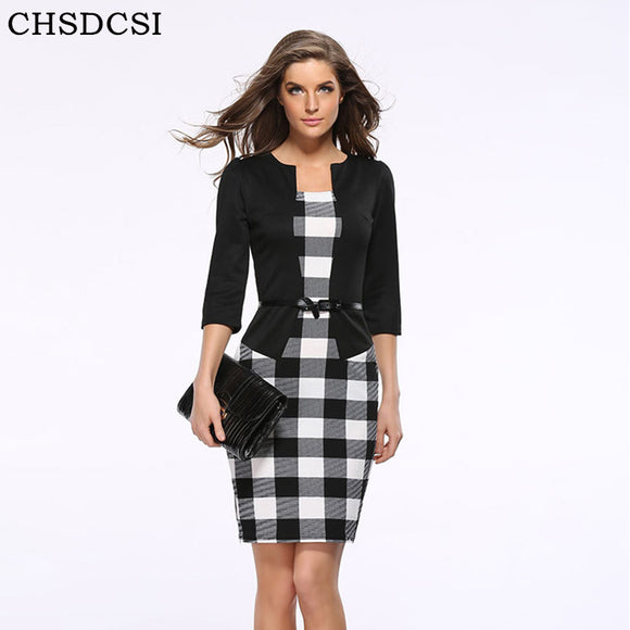 2017 Women New Fashion Autumn Spring Style Faux Two Piece Elegant Plaid Long Sleeve Pencil Dresses Office Wear Work Outfits S122