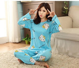 2017 Summer New Women Pajamas Sets Suits Spring Autumn Cartoon Female Long-sleeve Pajama Pants Milk Silk Pajamas Suits tracksuit