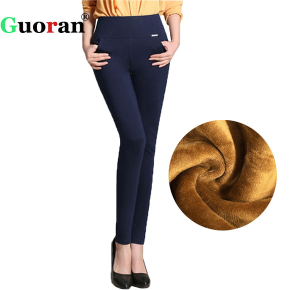 Winter pants women Office Thick Warm Fleece High Waist pencil pants Stretch black White trousers Plus Size Leggings