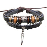 Vintage Leather Wood Beads Punk Bracelet