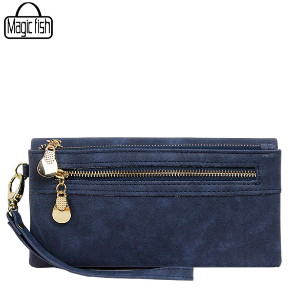 2017 Fashion Women Wallet Elegant Dull Polish Leather Wallets 2 Zippers Hasp Clutch Female Leather Wallet Women Purses C2244/l