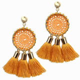 7 Colors Net Weaving Bohemian Tassels Earrings
