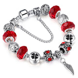 European Style Authentic Tibetan Silver 6 Colors Crystal Charm Bracelets with Wings for Women Original DIY Beads Jewelry SL73
