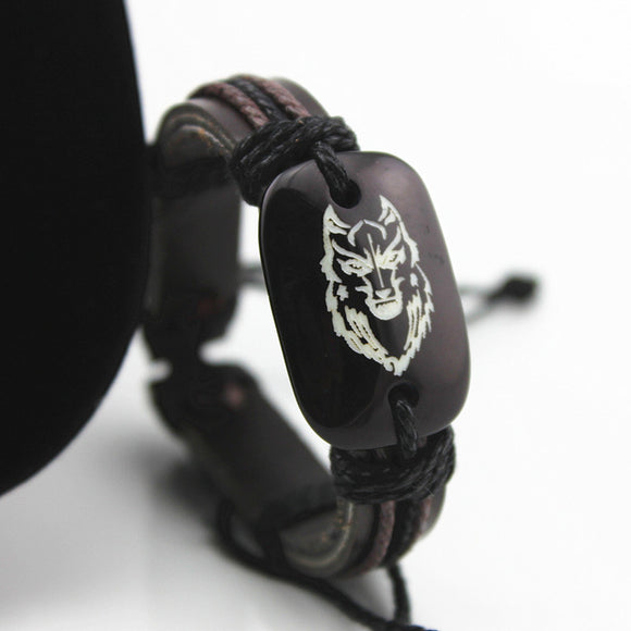 SPINNER Fashion Leather Resin Bracelet Wolf Head Pattern Cowhide Adjustable Handmade Bracelet Jewelry Gift