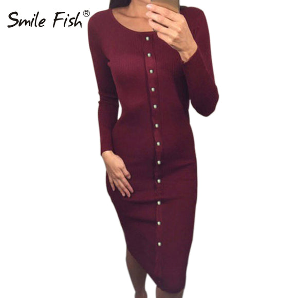 2017 Winter Autumn Work Style Women Bodycon Dresses Sexy New Arrival Casual Warm Long Sleeve stretchy Sleeve Midi Dress LX062