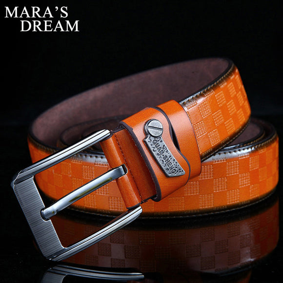 2017 New Mens Fashion Belts 120cm Leisure Business Casual Wild High Grade Luxury Pure Leather Antique Buckle Belts Hot Sale